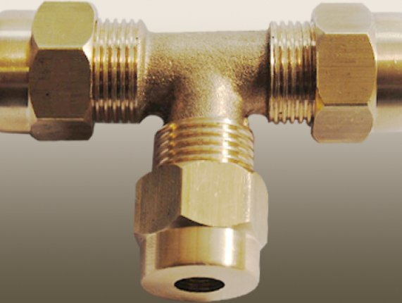 TEE COMPRESSION UNION with BRASS OLİVE